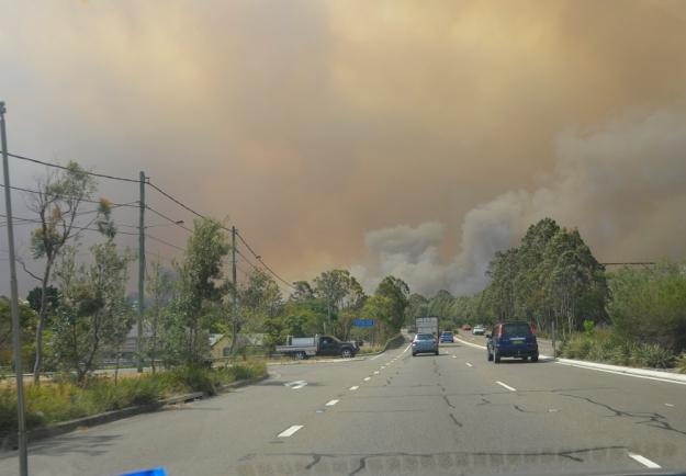 016bush fire driving home